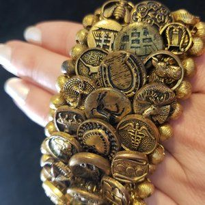 Brass Button Bracelet Victorian Antique